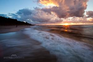 piękny zachód słońca nad Bałtykiem